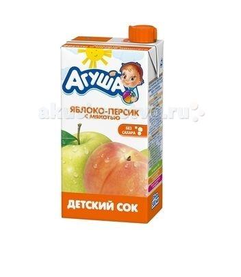 Соки и напитки Агуша Сок детский с мякотью Яблоко-персик 500 мл соки и напитки агуша компот курага изюм яблоко 200 мл
