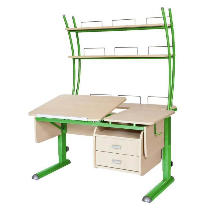 Школьные парты Астек Парта Твин-2 с надстройкой и тумбой (столешница береза) детские столы и стулья астек парта моно 2 с надстройкой столешница белая