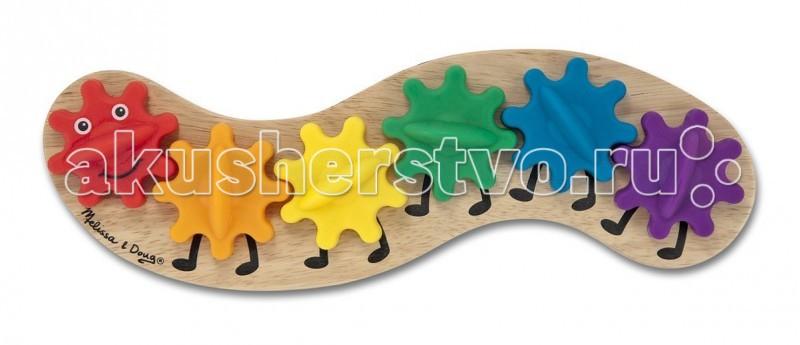 Деревянные игрушки Melissa & Doug Первые Навыки Развивающая гусеница с шестеренками