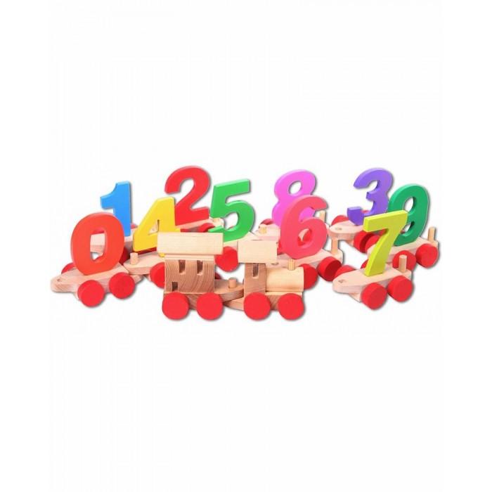 Деревянная игрушка Paremo паровозик с цифрами в деревянном ящике фото