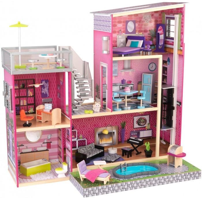 KidKraft Дом мечты Барби Глянец с мебелью 35 предметов и бассейном  (65833_KE)