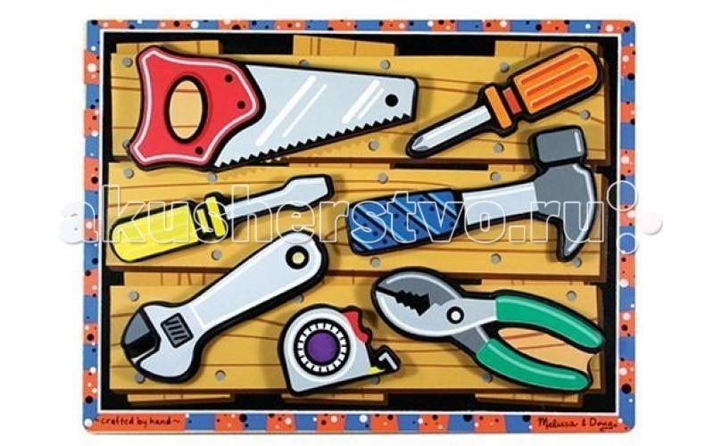 Деревянные игрушки Melissa & Doug Мои первые пазлы Иструменты (объемные 7 элементов) пазлы melissa