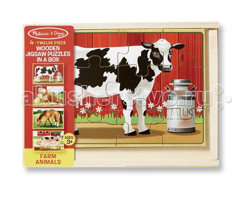 Деревянная игрушка Melissa & Doug Деревянные пазлы в коробке Животные с фермы