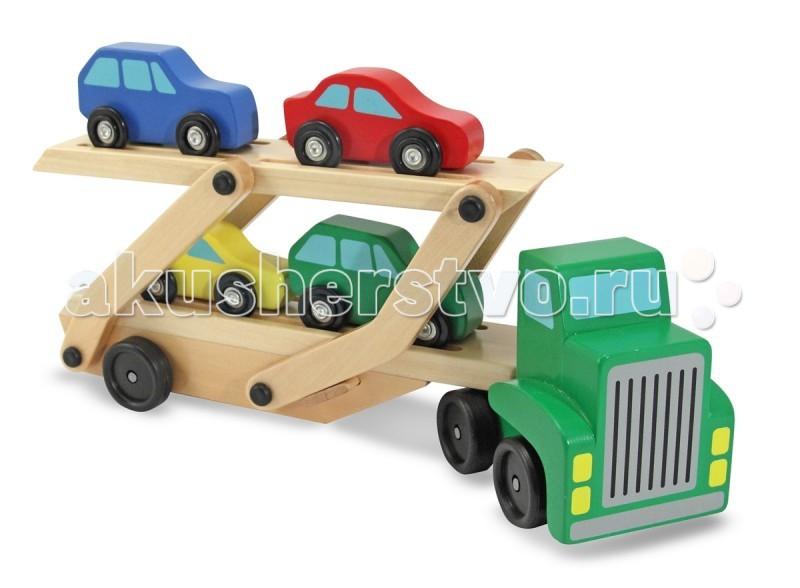 Деревянная игрушка Melissa &amp; Doug Машинка для перевозки автомобилейМашинка для перевозки автомобилейДеревянная игрушка Melissa & Doug Машинка для перевозки автомобилей - фантастический грузовик с 4-мя красочными легковыми машинками.  В комплекте с автоперевозчиком имеется 3 легковых автомобиля. Машинка имеет два уровня для перевозимых машинок, конструкция машинки позволяет опускать верхний уровень для удобства съезда автомобилей.  Игрушка развивает мелкую моторику, тактильные ощущения и зрительное восприятие окружающего мира.   Такой набор станет прекрасным подарком для Вашего сына.<br>