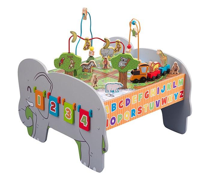 KidKraft Игровой стол МалышДетские столы и стулья<br>KidKraft Игровой стол Малыш выполнен из дерева. На столешнице лабиринты, имитация железной дороги с поездом со зверями. Под столешницей сортер и пространство для хранения фигурок. С одного бока стола шестерёнки, с другого - деревянные таблички со счётом.