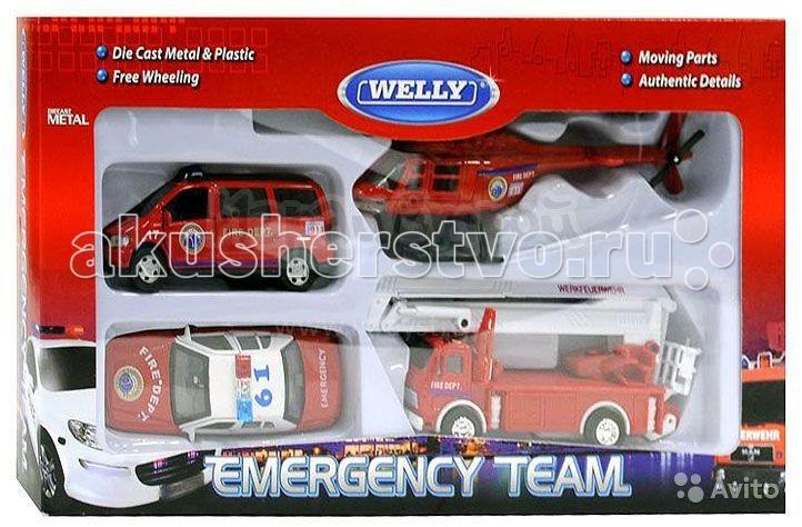 Машины Welly Набор машин Пожарная служба 4 шт. welly welly набор служба спасения скорая помощь 4 штуки