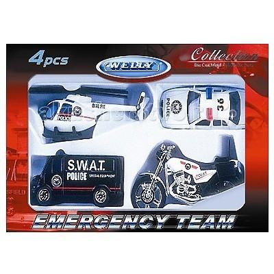 Машины Welly Набор Служба спасения - полиция 4 шт.