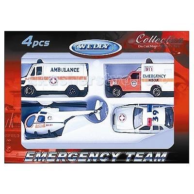 Машины Welly Набор Служба спасения - скорая помощь 4 шт. конструктор с подсветкой служба спасения lite brix