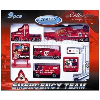 Машины Welly Набор Служба спасения - пожарная команда 9 шт. конструктор с подсветкой служба спасения lite brix