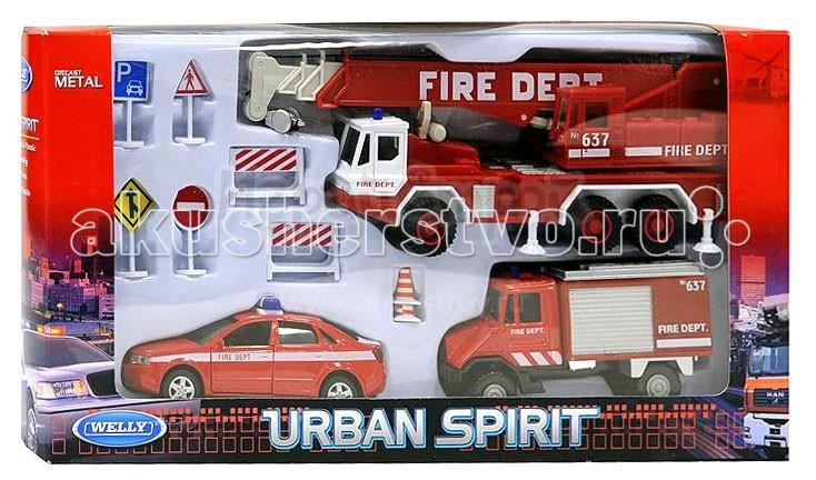 Машины Welly Набор машин Пожарная служба 10 шт. welly welly набор служба спасения скорая помощь 4 штуки