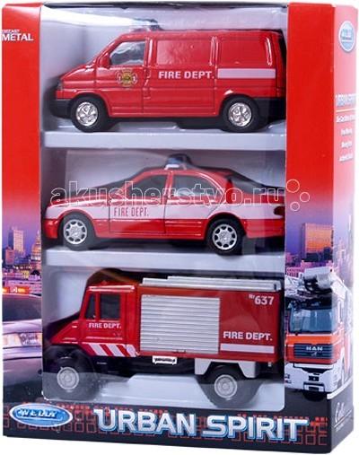 Машины Welly Набор машин Пожарная служба 3 шт. welly welly модель машины газель пожарная охрана