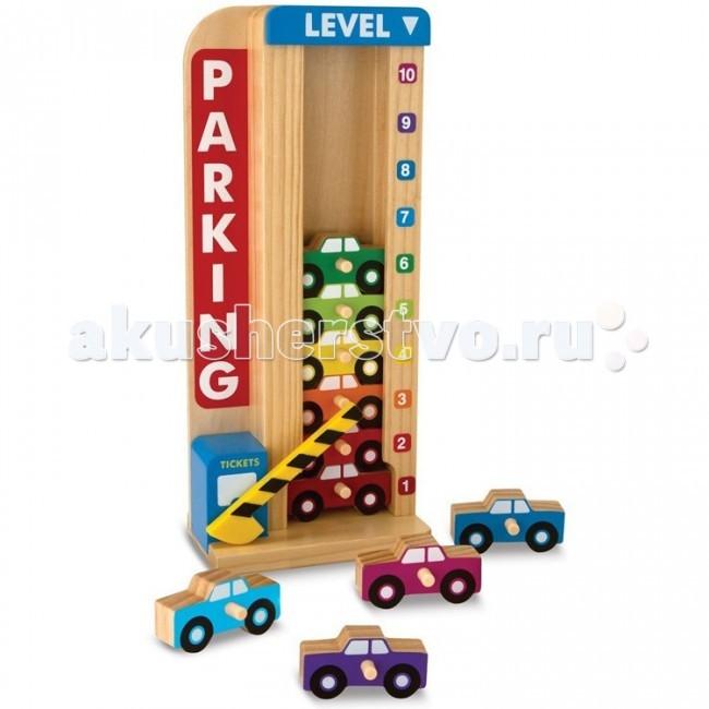Деревянная игрушка Melissa & Doug Классические игрушки Сложи и посчитай Гараж