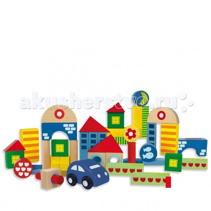 Деревянные игрушки, Деревянная игрушка Goula Конструктор Городок 41 шт.  - купить со скидкой