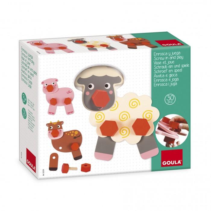 Деревянная игрушка Goula Конструктор Вкручивай и играй Животные фермы