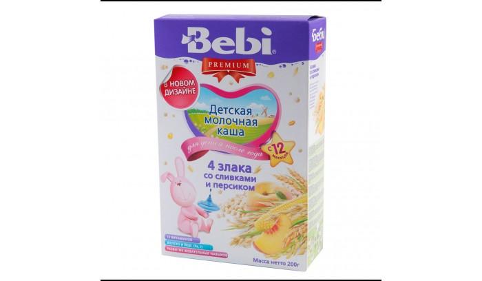 Каши Bebi Молочная каша Premium из 4 злаков со сливками и персиком с 12 мес. 200 г каша молочная bebi premium 7 злаков с черникой 6 мес 200 г