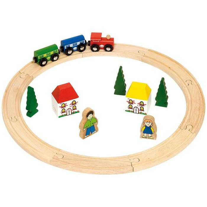 Купить Железные дороги, Bigjigs Первая деревянная железная дорога 20 деталей