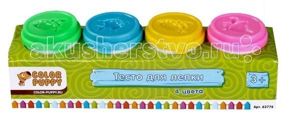Всё для лепки Color Puppy Тесто для лепки 4 цвета всё для лепки lori тесто для лепки пластишка 7 цветов по 30 г