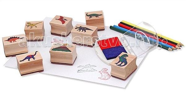 Деревянная игрушка Melissa & Doug Творчество Набор печатей Динозавры фото
