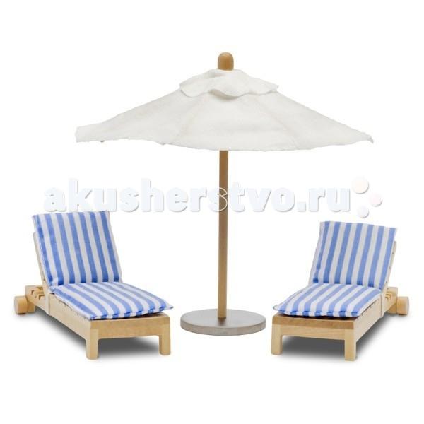 Картинка для Кукольные домики и мебель Lundby Мебель Стокгольм Лежаки с зонтиком от солнца
