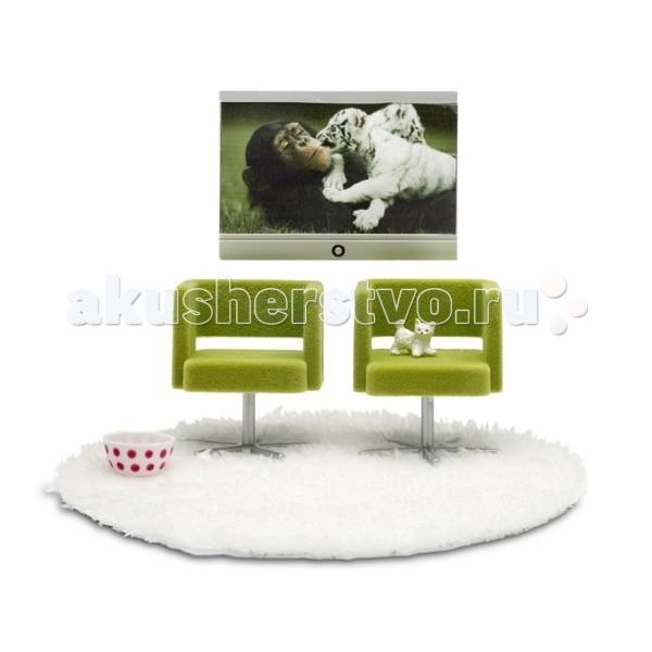 Кукольные домики и мебель Lundby Мебель Стокгольм Домашний кинотеатр кукольный домик lundby с освещением стокгольм с бассейном lb 60903200