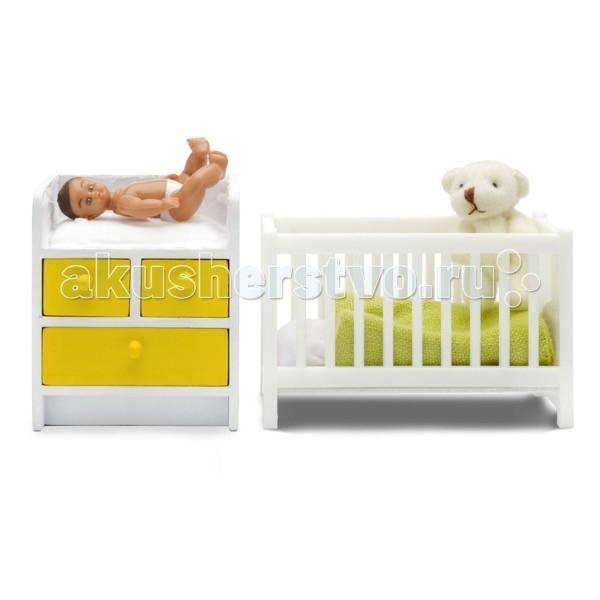 Кукольные домики и мебель Lundby Мебель Стокгольм Кроватка с пеленальным комодом дом для кукол lundby стокгольм с освещением с бассейном