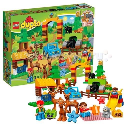 Конструктор Lego Duplo 10584 Лего Дупло Лесной заповедникDuplo 10584 Лего Дупло Лесной заповедникКонструктор Lego Duplo 10584 Лего Дупло Лесной заповедник  Проведите день в лесном заповеднике LEGO DUPLO - там водится так много животных! Это прекрасный выбор на большой праздник! В наборе целых 8 животных!   Смотритель парка на своем автомобиле осматривает свои владения. Сначала он направляется к семье оленей, чтобы их накормить. Затем он навещает молодую лисью семью, которая живет под деревом. В другом вольере проживает медведица с медвежонком. Недалеко от них на детской площадке отдыхают мама со своей дочкой.  В набор входят 3 фигурки: мама, папа и ребенок 8 животных: пара оленей, оленёнок, медведь, медвежонок, две лисы и белка<br>