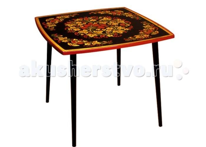 Купить Детские столы и стулья, Хохлома Стол квадратный Осень с росписью (высота 52 см)