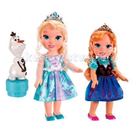 Disney Princess Игровой набор куклы и Олаф Холодное Сердце ПринцессыPrincess Игровой набор куклы и Олаф Холодное Сердце ПринцессыИгровой набор 2 куклы и Олаф Холодное Сердце Принцессы  Куколки Disney Princess одеты в красивые шелковые платья с вышитыми рисунками и диадемы – как и положено настоящим принцессам! Волосы Анны и Эльзы заплетены в косички, их можно расчесывать у куколок двигаются ручки, ножки и голова.   Фигурка Олафа – на специальной подставке, при нажатии на которую снеговик забавно качает головой.  В комплекте: куклы Анна и Эльза Фигурка Олафа  Из волос кукол можно сооружать прически. Снеговик забавно качает головой.<br>