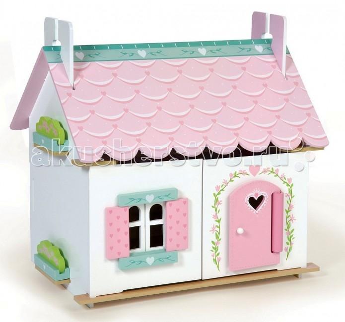 LeToyVan Кукольный домик Лили с мебельюКукольный домик Лили с мебельюLeToyVan Домик Лили с мебелью.  Одноэтажный кукольный коттедж с богатым набором кукольной мебели внутри. Яркий и праздничный белый цвет в сочетании с нежно-розовыми ставнями, розовой дверью и розовой крышей, разукрашенной под настоящую черепицу. Дверь домика обрамляет цветочная гирлянда, на двери вырезано сердечко, также рисунок из сердечек расписан на крыше, ставнях и боковых цветниках.  Домик состоит из 2 этажей. Окна, ставни и двери домика свободно открываются и закрываются, полотна крыши приподнимаются и образуют второй этаж. Полотна крыши полностью съемные. Внутри домик декорирован под настоящий домашний интерьер - красивые обои, пол, предметы домашнего интерьера. Задняя стенка домика глухая. Домик продается с большим набором кукольной мебели: предметы кухни, столовой.  Конструкция домика легко и быстро собирается, не требует специальных инструментов, можно протирать мягкой влажной тряпочкой. Кукольный домик Лили изготовлен из натуральных материалов и окрашен специальными безопасными для детей красками. Упакован в подарочную коробку с переносной пластиковой ручкой. Кукольная семья продается отдельно.   Деревянный кукольный домик Лили с комплектом кукольной мебели  белый цвет домика в сочетании с розовым и зеленым полностью раскрашен и декорирован снаружи и внутри в сердечном мотиве окна, ставни, дери свободно открываются и закрываются полотна крыши свободно приподнимаются, откидываются в одну сторону и полностью снимаются домик включает большой набор кукольной мебели, как показано на картинке сделан из натуральных материалов и окрашен безопасными красками самостоятельная сборка не требует специальных инструментов упакован в подарочную коробку с переносной пластиковой ручкой.<br>