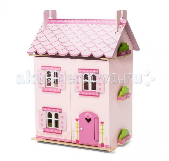 LeToyVan Кукольный домик Моей мечты с мебельюКукольный домик Моей мечты с мебельюLeToyVan Домик Моей мечты с мебелью.  Двухэтажный домик для кукольной семьи с различными предметами кукольной мебели внутри. Название домика говорит само за себя - каждая девочка мечтает о таком подарке. Спокойный розовый, как нежный яблоневый цвет, в сочетании с более насыщенными ставнями, комбинированной дверью и белыми окошками. Домик полностью окрашен в красивые оттенки детского розового цвета. Дверь украшает большое вырезанное сердце. Множеством маленьких волшебных сердечек расписаны ставни вперемешку с милыми звездочками. Звездочки также украшают передние панели и верхушку крыши, что делает этот домик похожим на настоящее волшебство и магию. Крыша разукрашена под черепицу, по бокам закреплены зеленые огородики.  Домик состоит из 3 этажей. Окна, ставни и двери домика свободно открываются и закрываются, полотна крыши приподнимаются и образуют третий этаж. Двери домика закрываются на магнитиках и самопроизвольно открыться не могут. Полотна крыши полностью съемные. Внутри домик декорирован под настоящий домашний интерьер - красивые обои, пол, предметы домашнего интерьера. Задняя стенка домика глухая. Домик продается с большим набором кукольной мебели: предметы кухни, столовой и детской.  Конструкция домика легко и быстро собирается, не требует специальных инструментов, можно протирать мягкой влажной тряпочкой. Кукольный домик Моей мечты изготовлен из натуральных материалов и окрашен специальными безопасными для детей красками. Упакован в подарочную коробку с переносной пластиковой ручкой. Кукольная семья продается отдельно.   Деревянный кукольный домик Моей мечты с комплектом кукольной мебели  различные оттенки розового цвета в сочетании с белой отделкой полностью раскрашен и декорирован снаружи и внутри в сердечном мотиве окна, ставни, двери свободно открываются и закрываются двери домика передние панели закрываются на магнитиках и самопроизвольно не открываются полотна крыши свободн