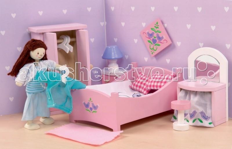 LeToyVan Сахарная слива СпальняСахарная слива СпальняLeToyVan Сахарная слива - Спальня.  Гарнитуры деревянной кукольной мебели по отдельным комнатам; окрашенной в очень красивые тона сиреневого, розового, голубого и желто-оранжевого для кукольных домиков и кукол - Сахарная слива Спальня: родительская кровать с постельными принадлежностями двустворчатый шкаф с вешалками прикроватная тумбочка с настольной лампой туалетный столик и стульчик картина на стену и коврик. Дверцы и ящички в кукольной мебели свободно открываются и закрываются, выдвигаются так же, как у настоящей мебели. Набор кукольной мебели сделан из дерева и ткани. Размер предметов специально продуман для кукольных домиков и кукольной семьи - 1:12.  Кукольная мебель Сахарная слива Спальня набор кукольной мебели Le Toy Van для кукольных домиков сделан из натуральных материалов окрашен безопасными для детей красками высококачественная обработка деталей и поверхностей специальный размер предметов для кукольных домиков упакован в подарочную коробку.<br>