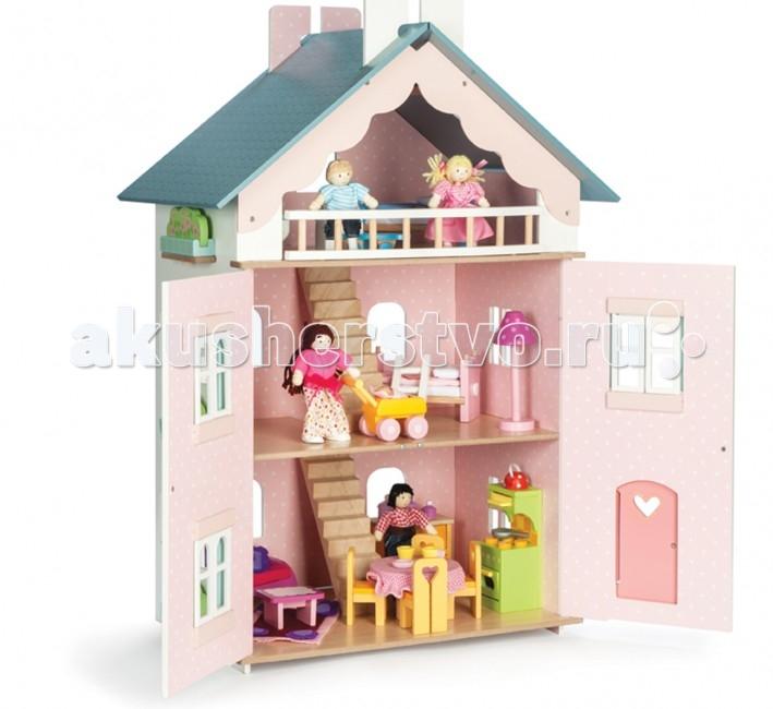 LeToyVan Кукольный домик Для ДжульетыКукольный домик Для ДжульетыLeToyVan Кукольный домик Для Джульеты.  Двухэтажный домик для кукольной семьи. Возможно, название домика возникло в связи с тем, что у дома есть балкон под крышей, с него можно слушать серенады. Домик полностью окрашен в красивые и спокойные пастельные тона: светлые стены замечательно смотрятся в сочетании с зелеными ставнями и серо-голубой крышей; комбинированной дверью и белыми окошками. Дверь украшает большое вырезанное сердце. Крыша разукрашена под черепицу, по бокам закреплены зеленые огородики.  Домик состоит из 3 этажей. Благодаря тому, что полотна крыши полностью съемные, появляется свободный доступ к пространству под крышей - полноценный третий этаж. Окна, ставни и двери домика свободно открываются и закрываются. Двери домика закрываются на магнитиках и самопроизвольно открыться не могут. Внутри домик декорирован под настоящий домашний интерьер - красивые обои, пол, предметы домашнего интерьера. Задняя стенка домика глухая.  Набор мебели и кукольная семья продаются отдельно.  В домике свободно разместятся несколько комплектов кукольной мебели: гостиная и кухня, спальня или десткая, ванная. Несколько лестниц ведут с этажа на этаж. Куклы-человечки высотой 10-15 см будут чувствовать себя комфортно. В домике поселится настоящая семья - мама, папа и двое детей, а также к ним в гости может приезжать бабушка, дедушка и их питомец. По хозяйству маме сможет помочь кукла-уборщица и кукла-официантка, а приготовить вкусный ужин возьмется кукла-повар. Все эти дополнительные игровые аксессуары для домика можно купить в магазине КуклаДом.  Конструкция домика легко и быстро собирается, не требует специальных инструментов, можно протирать мягкой влажной тряпочкой. Кукольный домик Для Джульетты изготовлен из натуральных материалов и окрашен специальными безопасными для детей красками. Упакован в подарочную коробку с переносной пластиковой ручкой.  Деревянный кукольный домик Для Джульетты:  спокойные и красивые 