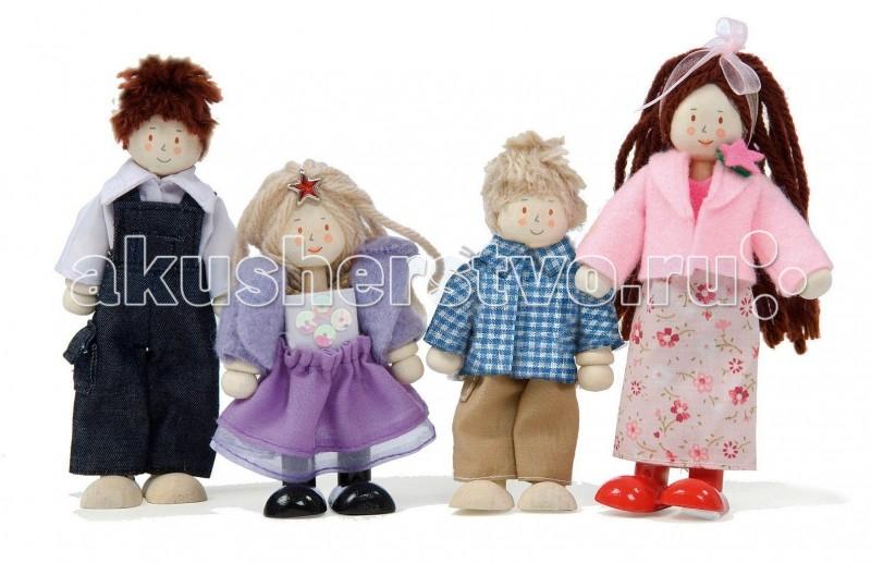 LeToyVan Набор Кукольная семьяНабор Кукольная семьяLeToyVan Набор кукол Кукольная семья.  Веселая кукольная семья Budkins, состоящая из четырех фигурок: родителей и двоих деток, займет свое заслуженное место в коллекции игрушек Вашего ребенка. Очень интересные, забавные и добрые куколки изготовлены из высококачественного дерева, а их волосы из натуральной шерсти. Одеты они в яркую современную одежду из хорошей ткани. Благодаря составным сгибающимся ножкам и ручкам их можно посадить или придать им необходимое для игры положение. Симпатичные куклы выглядят как настоящая дружная семья.  Маленькие дети, особенно девочки, очень любят копировать домашний быт и переносить его в игрушечный мир. С помощью этих фигурок ребенок может разнообразить сюжетно-ролевую игру с домиками Le Toy Van, прекрасно подходящими для проживания большой кукольной семьи. Такие игры просто необходимы ребенку, так как развивают многие полезные навыки и качества.<br>