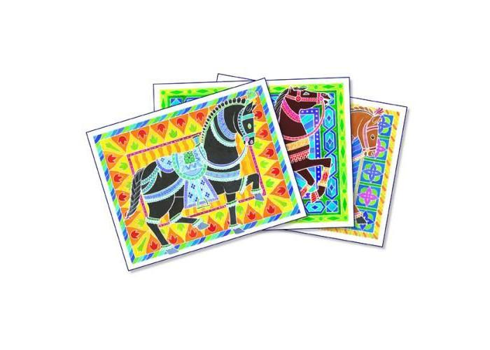 Творчество и хобби , Раскраски SentoSpherE Акварельная Цирковые лошади арт: 526696 -  Раскраски