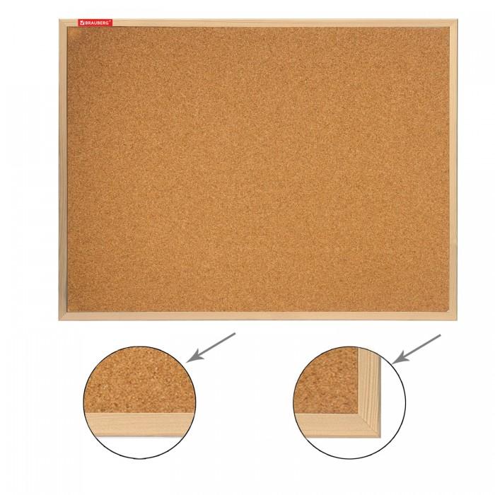 Доски и мольберты Brauberg Доска пробковая деревянная рамка 90х120 см доски и мольберты brauberg доска пробковая алюминиевая рамка 60х90 см