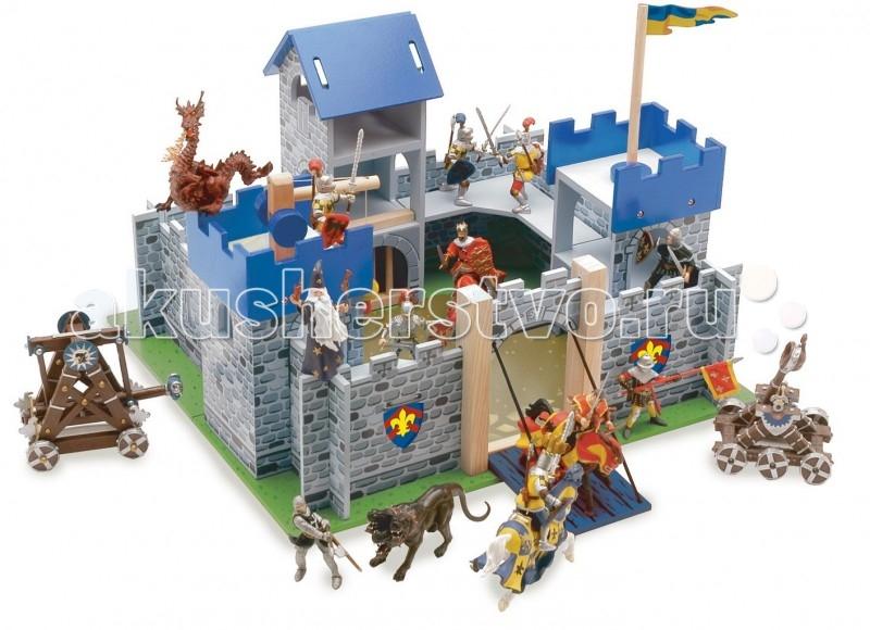 LeToyVan Замок Меч короля АртураЗамок Меч короля АртураLeToyVan Замок Меч короля Артура.  Рыцарский замок игрушка для фигурок Меч короля Артура, производства английской компании Le Toy Van.Яркий, интересный и красивый рыцарский замок Меч короля Артура - будет очень хорошим подарком для любого мальчишки. С его помощью рыцари, волшебники, драконы и другие сказочные персонажи легко обживут эту волшебную страну. А в перерывах между играми все герои сражений смогут мирно отдыхать за высокими и неприступными стенами.  Выполненный из дерева игровой набор очень интересен и увлекателен, так как состоит из множества аксессуаров для разнообразных игр. У замка три синие башни: тюремная башня, флаговая башня с флагом, башня с лебедкой. Внутреннее пространство замка имеет галереи на стенах.Ворота открываются, образуя перекидной мост, на них изображен рыцарский герб. Так же два герба изображены с двух сторон от входа. Рядом с мостом есть потайная дверца для побега.  Стены замка разукрашены под камень, внутренний двор так же замощен камнем, а вокруг растет трава.Замок легко собирается. Набор упакован в красивую подарочную коробку.Яркие цвета, высококачественная обработка деталей, глянцевая поверхность игрушек, высокие стандарты безопасности и качества. Прекрасно сочетается с деревянными куклами Budkins или фигурками фирмы Papo. Продаются отдельно.<br>