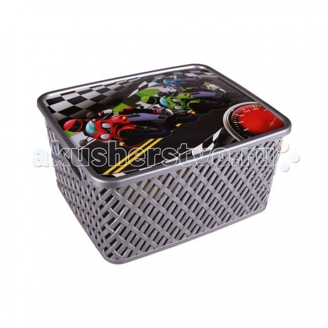 Ящики для игрушек Альтернатива (Башпласт) Корзина детская Лидер с крышкой (малая)