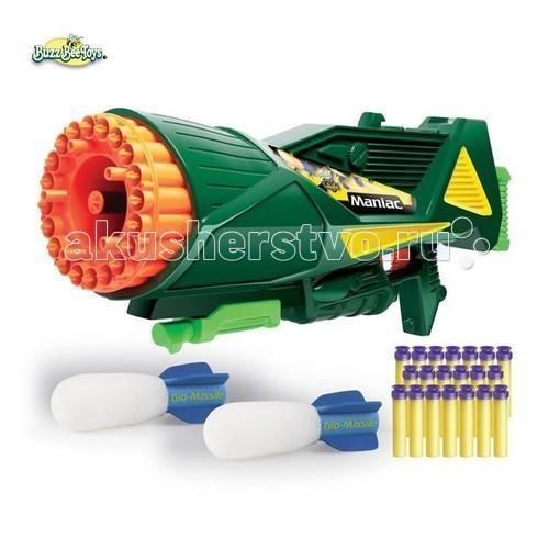 Buzzbee Бластер - пулемет с ракетойБластер - пулемет с ракетойBuzzbee Бластер - пулемет с ракетой - от компании Buz Bee выполнен из качественного пластика темно-зеленого цвета.   Обойма бластера размещена в передней части оружия, что позволяет быстро его перезаряжать. Патроны сделаны из мягкого материала, что гарантирует безопасность от попаданий, даже при выстреле в упор.   Магазин бластера вмещает 20 патронов и 1 ракету. В комлекте 20 патронов и 2 ракеты. Для каждого выстрела надо передергивать затвор.  Средняя стрелковая дальность 11 метров.  Игрушка предназначена для детей старше 6 лет.<br>