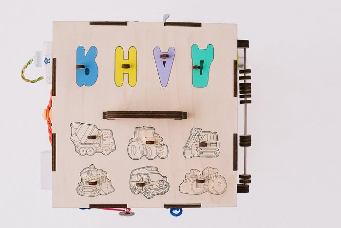 Деревянная игрушка Бизикуб Техника и геометрические фигуры с розеткой