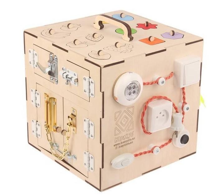 Деревянная игрушка Бизикуб Фрукты и геометрические фигуры с розеткой