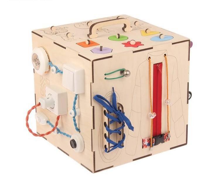 Деревянная игрушка Бизикуб Домашние животные и геометрические фигуры