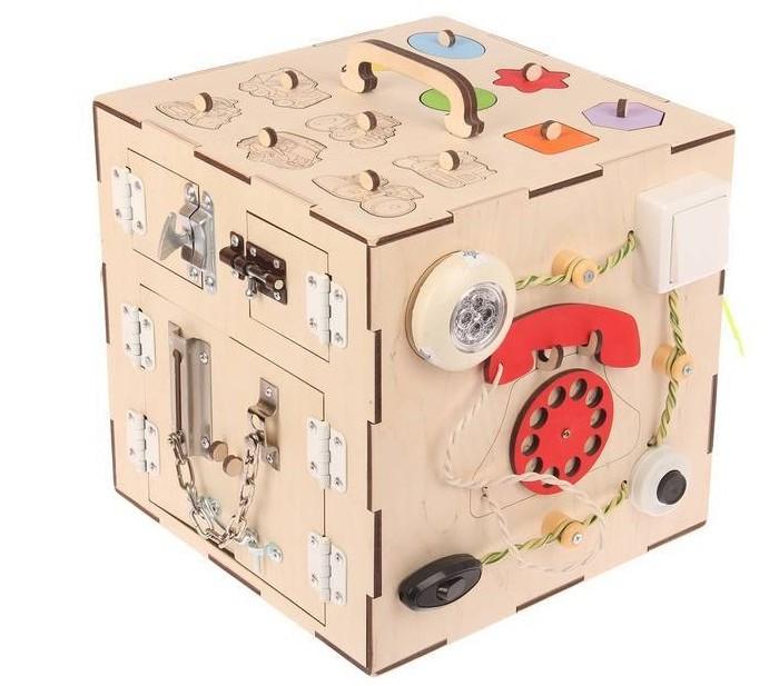 Картинка для Деревянная игрушка Бизикуб Транспорт и геометрические фигуры с телефоном
