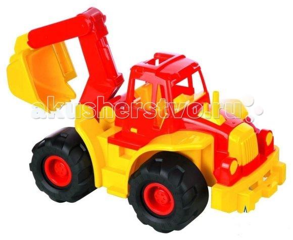 Машины Нордпласт Трактор Богатырь с ковшом машины tomy трактор john deere monster treads с большими резиновыми колесами