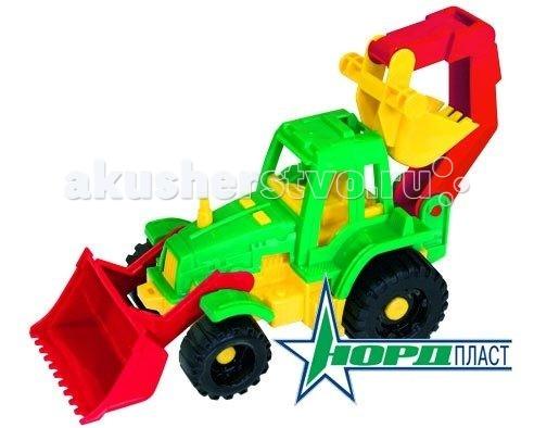 Машины Нордпласт Трактор Ижора с грейдером и ковшом трактор нордпласт богатырь с грейдером 68 см разноцветный 099
