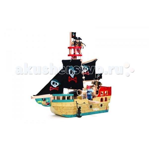 LeToyVan Пиратский корабль Веселый СэйлорПиратский корабль Веселый СэйлорLeToyVan Пиратский корабль Веселый Сэйлор.  Если Вы хотите доставить радость Вашему малышу – вручите ему легендарный пиратский корабль Веселый Сейлор, купить который Вы сможете в интернет-магазине КуклаДом. Каждый мальчишка мечтает окунуться в мир приключений и почувствовать себя смелым пиратом, бороздящим опасные просторы Карибского моря. Играя в сюжетные игры и создавая свой увлекательный мир, ребенок пробуждает у себя творческое мышление и фантазию. Деревянная сборная модель корабля Веселый Сейлор поможет развитию у малыша мелкой моторики рук, логики, внимательности, умения сопоставлять и размышлять.  Яркие цвета, высококачественная обработка деталей, глянцевая поверхность игрушек, высокие стандарты безопасности и качества.  В набор входят: две большие мачты с тканевыми парусами пушка, стреляющая ядрами воронье гнездо открывающаяся корма опускающийся якорь оснащение веревочные лестницы красивая подарочная упаковка.<br>