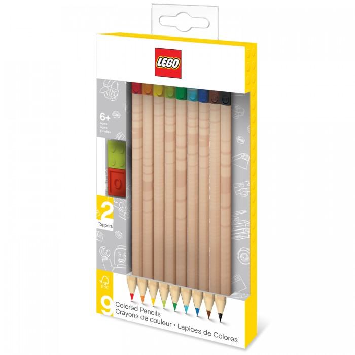 Карандаши, восковые мелки, пастель Lego Набор цветных карандашей с 2 насадками в форме кирпичика 9 шт.
