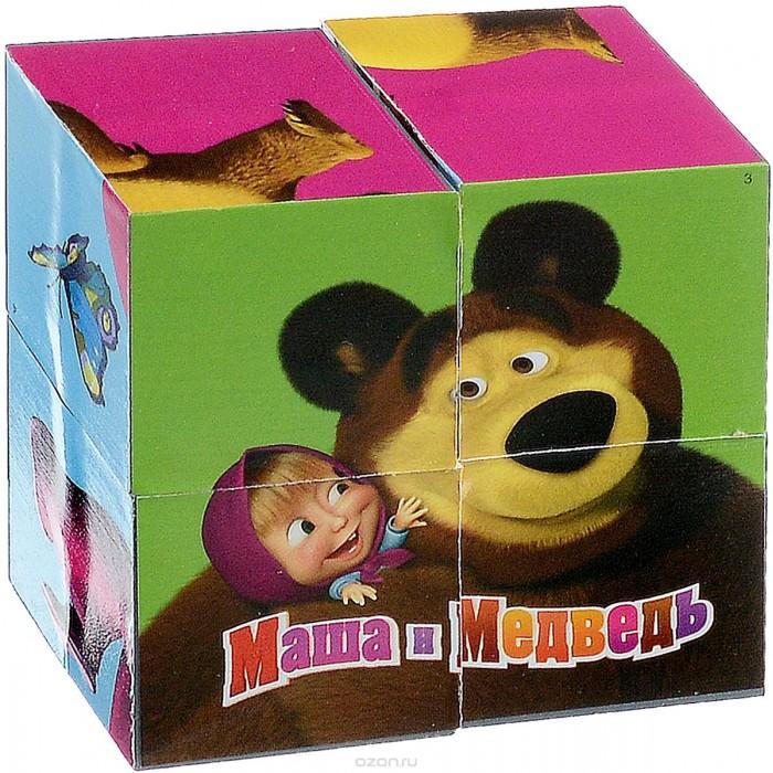 Развивающие игрушки Играем вместе Набор кубиков Маша и медведь 4 шт.