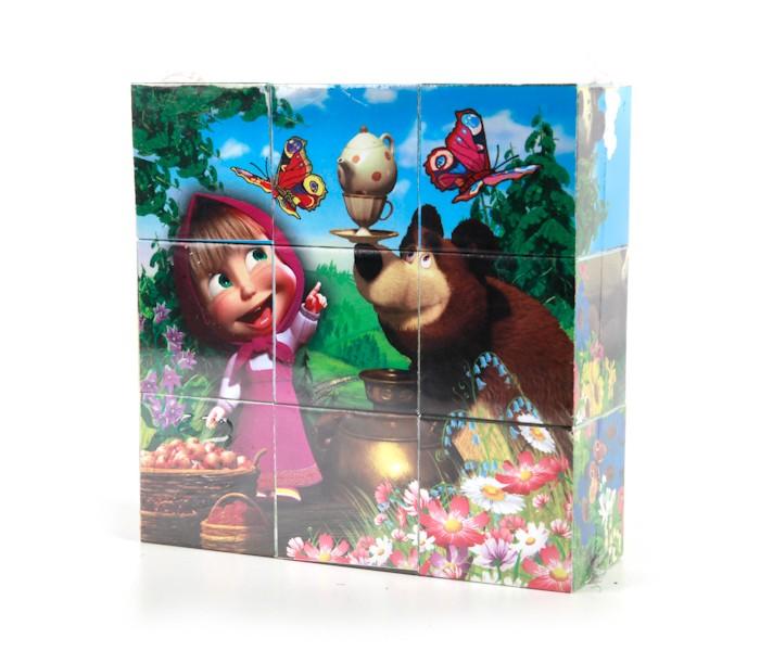 Развивающие игрушки Играем вместе Набор кубиков Маша и медведь 9 шт.