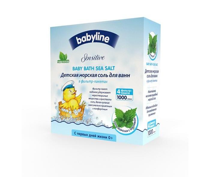 Соли и травы для купания Babyline Sensitive Детская морская соль для ванн с крапивой 1000 г