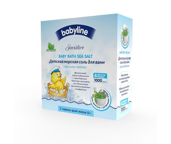 Соли и травы для купания Babyline Sensitive Детская морская соль для ванн с целебными травами 1000 г